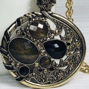 Jewelry - BrownTopaz Oval Filigree Pendant Necklace Bronze